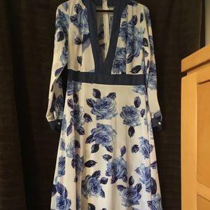 Blue Flower Print Maxi Dress